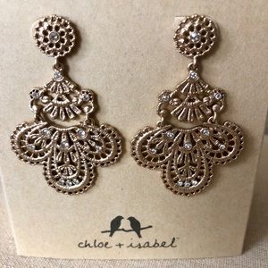 Queens Lace Gold Statement Earrings Chloe + Isabel